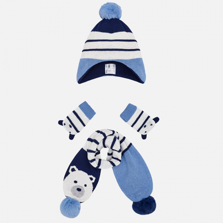 detail Beanie hat, scarf and mittens set for baby boy